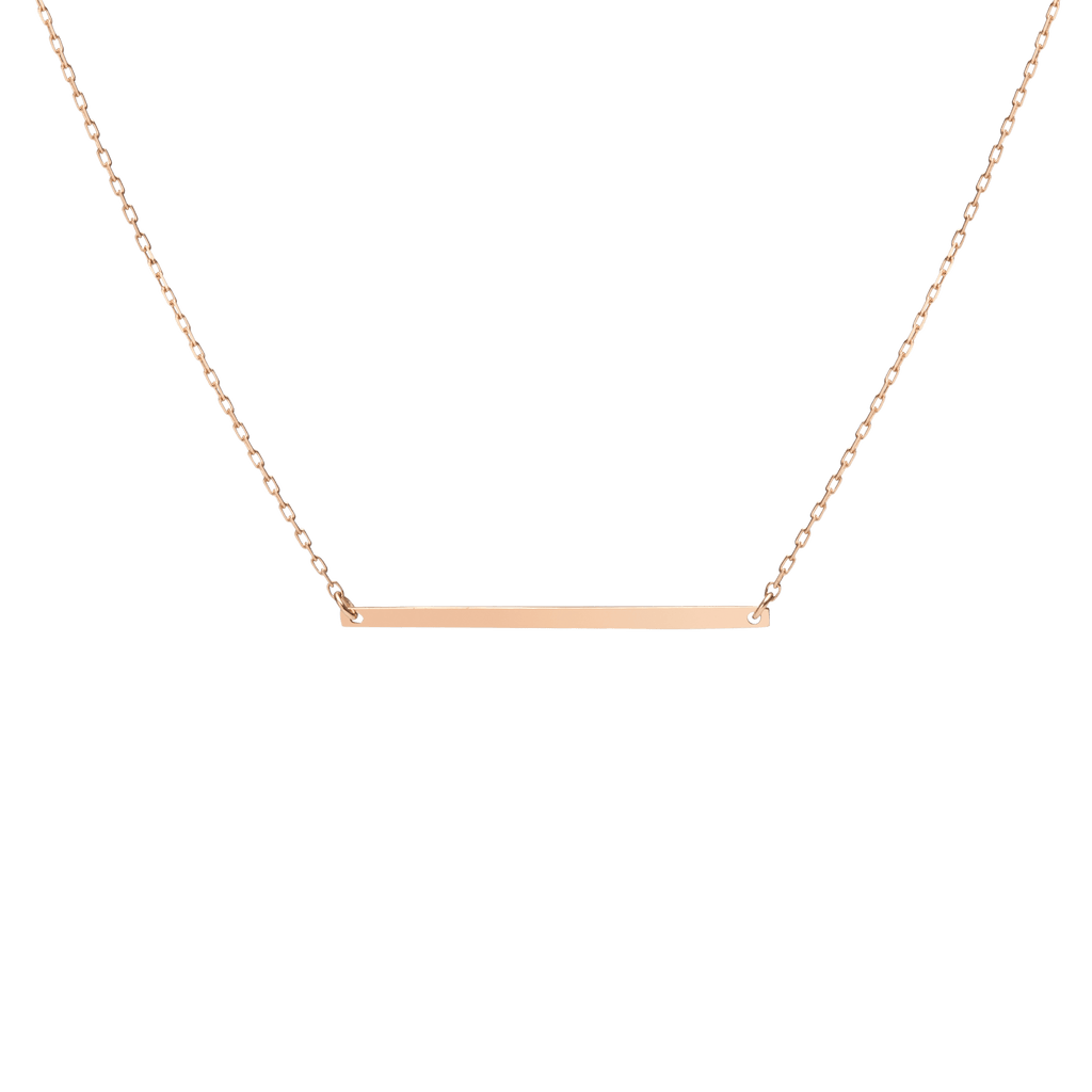 Engravable Gold Bar Necklace In Yellow Rose Or White Gold
