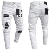 Trending Eat Chicken Embroidery Print Ripped Jeans For Men's