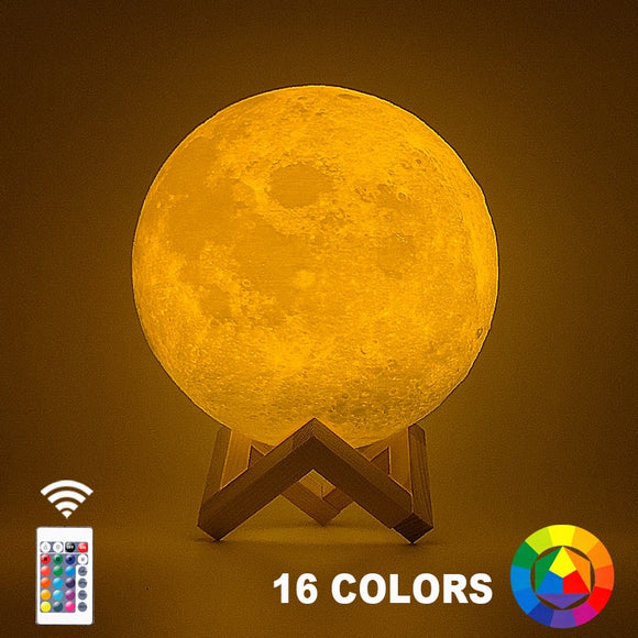 3D Print Moon Lamp With 16 Colours Remote Change Feature And Stand