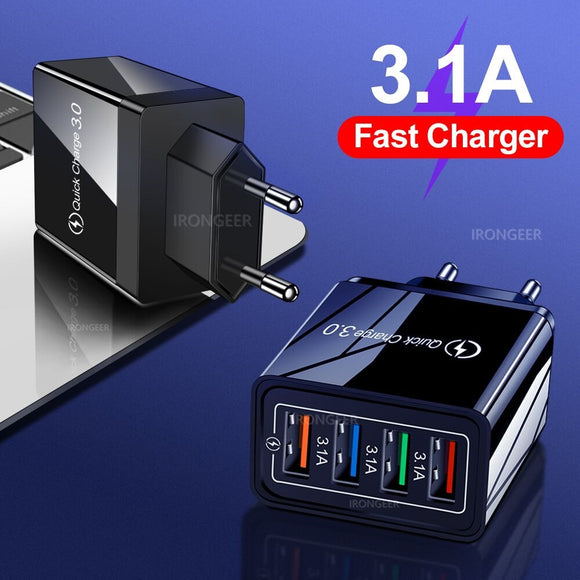 4 Port USB Universal Fast Charging EU/US Plug Power Adapter For All Kind Of Devices
