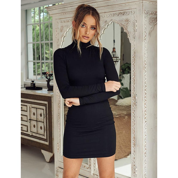 New Collar Long Sleeve Solid Color Slim Hip Dress