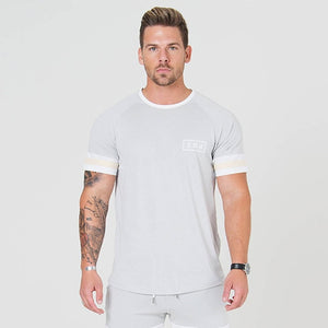 Men's Cotton Short Sleeve Patchwork T-shirt With Multiple Color Options