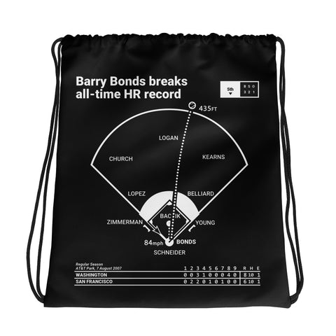 Greatest Giants Plays Drawstring Bag: Barry Bonds breaks all-time HR record (2007)