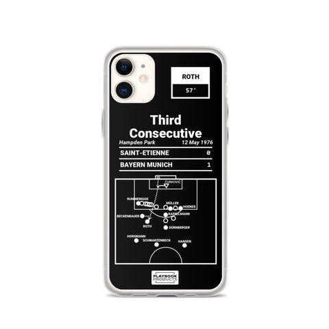 Greatest Bayern Munich Plays iPhone Case: Third Consecutive (1976)