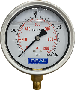 "Ideal Pressure Gauge 100MM (4"") 1/4"" BSPT Bottom Inlet"
