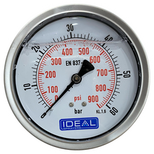 "Load image into Gallery viewer, Ideal Pressure Gauge 100MM (4"") 1/4"" BSPT Rear Inlet"