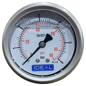 "Ideal Pressure Gauge 63MM (2.5"") 1/4"" BSPT Rear Inlet"