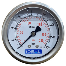 "Load image into Gallery viewer, Ideal Pressure Gauge 63MM (2.5"") 1/4"" BSPT Rear Inlet"