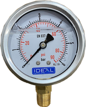 "Load image into Gallery viewer, Ideal Pressure Gauge 63MM (2.5"") 1/4"" BSPT Bottom Inlet"