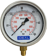 "Load image into Gallery viewer, Ideal Pressure Gauge 100MM (4"") 1/4"" BSPT Bottom Inlet"