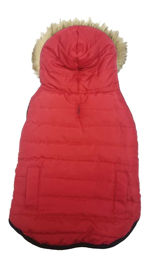 Fashion Pet Reversible Puffy Coat Red Small