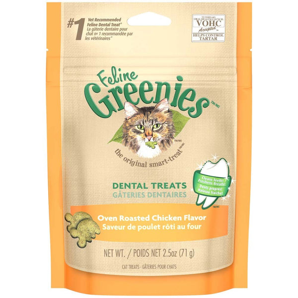 Feline Greenies Dental Treats for Cats Oven Roasted Chicken Flavorr 2.25oz