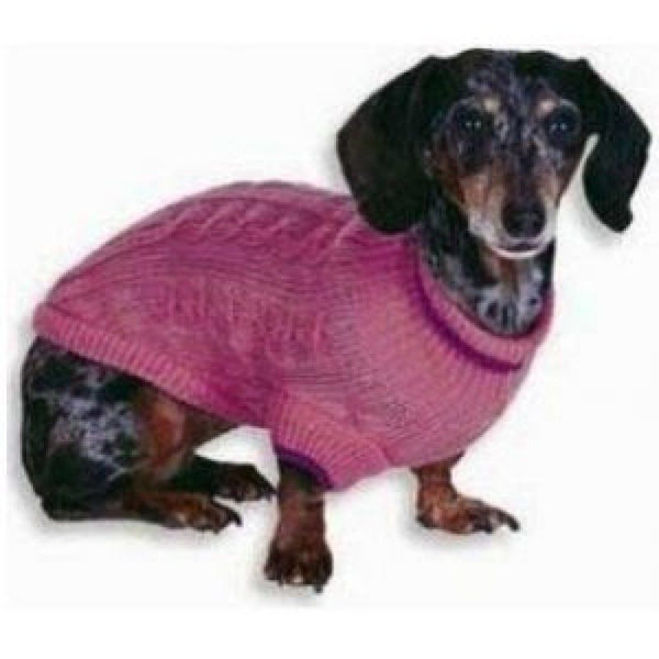 lookin' good! by Fashion Pet Classic Cable Sweater Pink in Extra Small