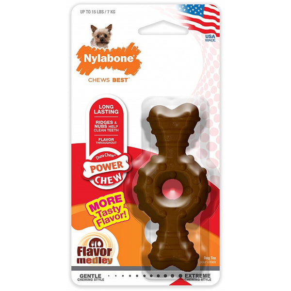 Nylabone Dura Chew Power Chew Textured Ring Bone Flavorr Medley - X-Small (Dogs up to 15 lbs)