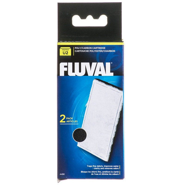 Fluval Underwater Filter Stage 2 Polyester/Carbon Cartridges - U2 Filter Cartridge (2 Pack)