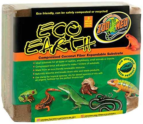 Zoo Med Eco Earth Compressed Coconut Fiber Substrate Brick 3pk