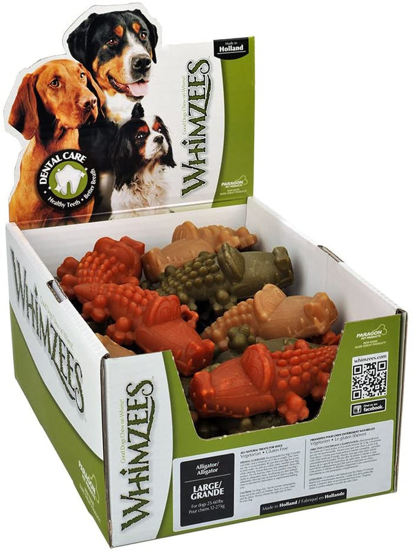 Whimzees Dog Alligator Large 30 Count Bulk