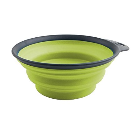 Dexas Popware for Pets Collapsible Travel Cup, Large, Gray/Green
