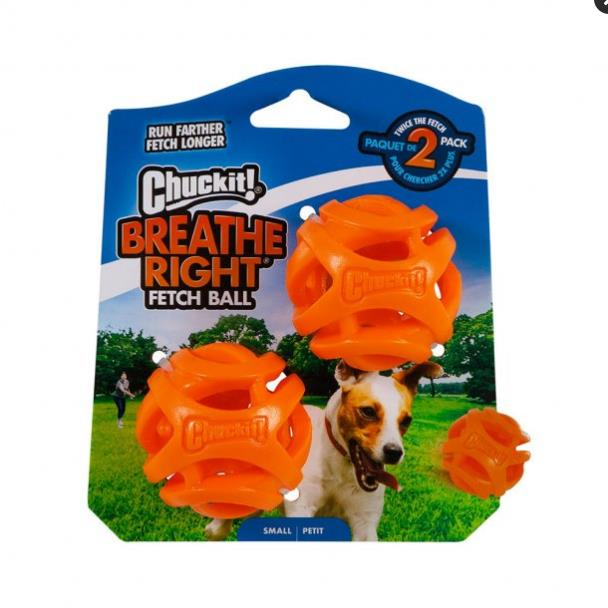 Chuckit Dog Breathe Right Fetch Ball Small 2 Pack
