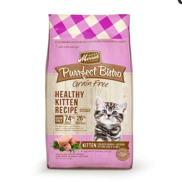 Merrick Purrfect Bistro Grain Free Healthy Kitten Recipe Cat Food 4 Lbs