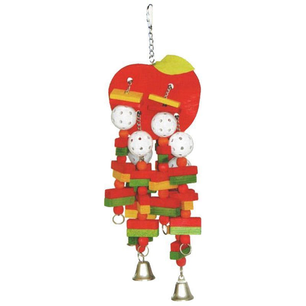 A&E Cage Company-Happy Beaks Wooden Apple Bird Toy -  Large - Multi Colour