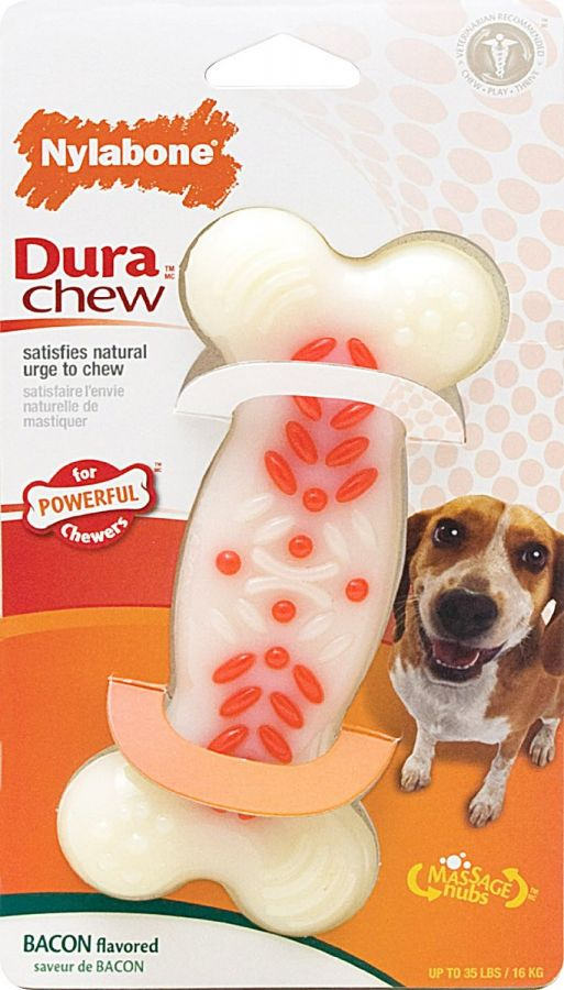 "Nylabone Dura Chew White & Red Dog Bone - Bacon Flavor - Wolf - 5.5"" Long"