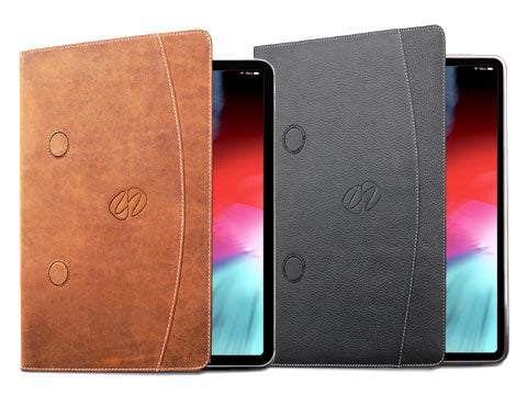 The best 11 iPad Pro case shown in vintage brown and black leather