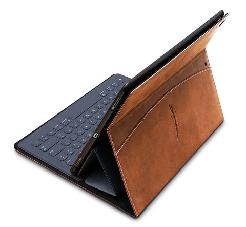 rear view of leather ipad pro smart keyboard case