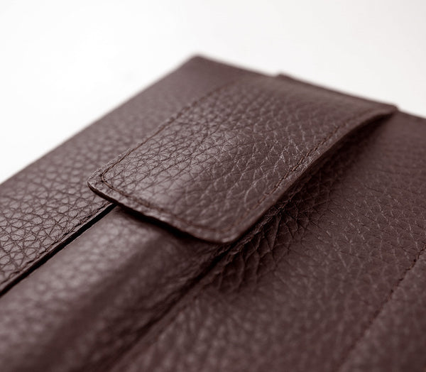Detail of custom iPad Pro case in chocolate brown
