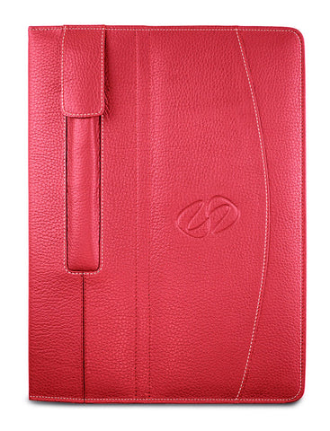 custom leather iPad Pro case shown in pebble grain red with white stitching