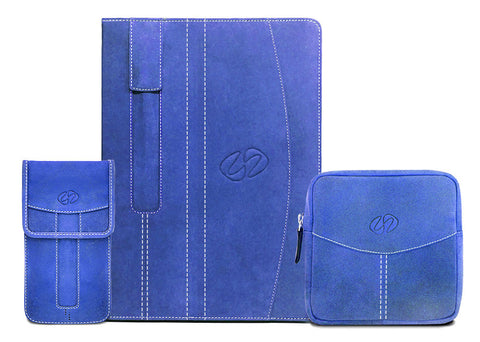 Custom Leather iPad Case shown in Blue Vintage by MacCase