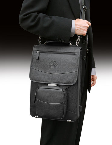 The MacCase Premium leather briefcase shown in Black
