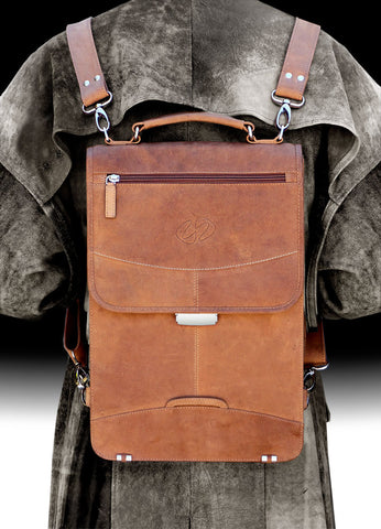 The MacCase Premium Leather Briefcase shown in leather backpack mode