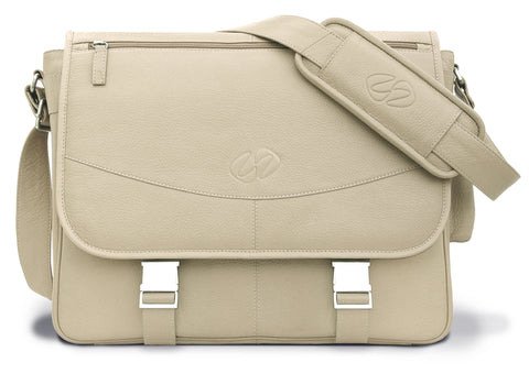 The rare MacCase Premium Leather Messenger Bag in Cream