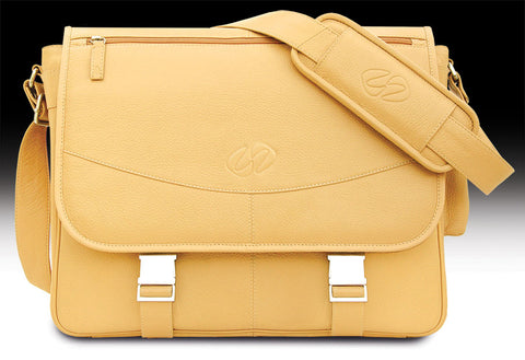 The MacCase Premium Leather Messenger Bag shown in Tan