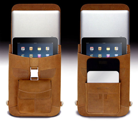 Open view of the maccase premium leather flight jacket macbook pro laptop cases with iPads