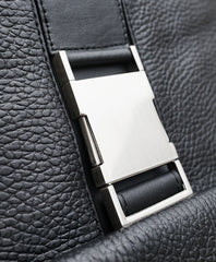 Close up of the old buckles used on the MacCase leather messenger bag
