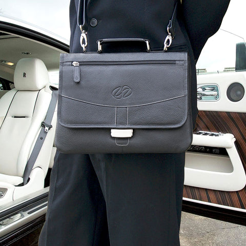 Black leather ipad pro briefcase with the rolls royce wraith