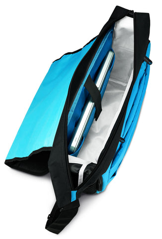 "BrightSight 2.0 interior design fabrics that ""light up"" the interior of the MacCase messenger bag"