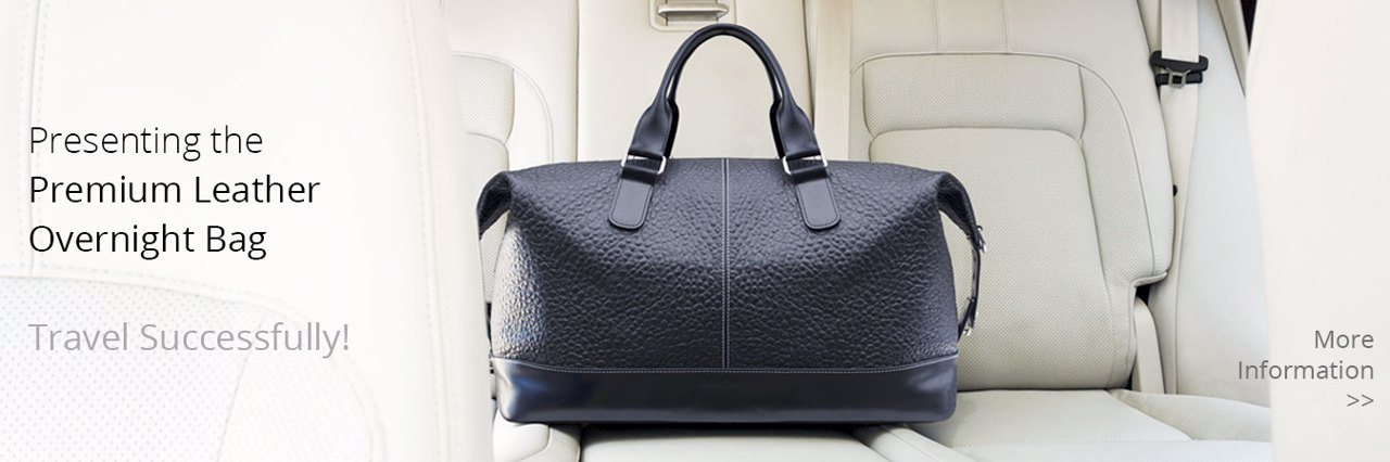 Premium Leather Overnight Bag by MacCase