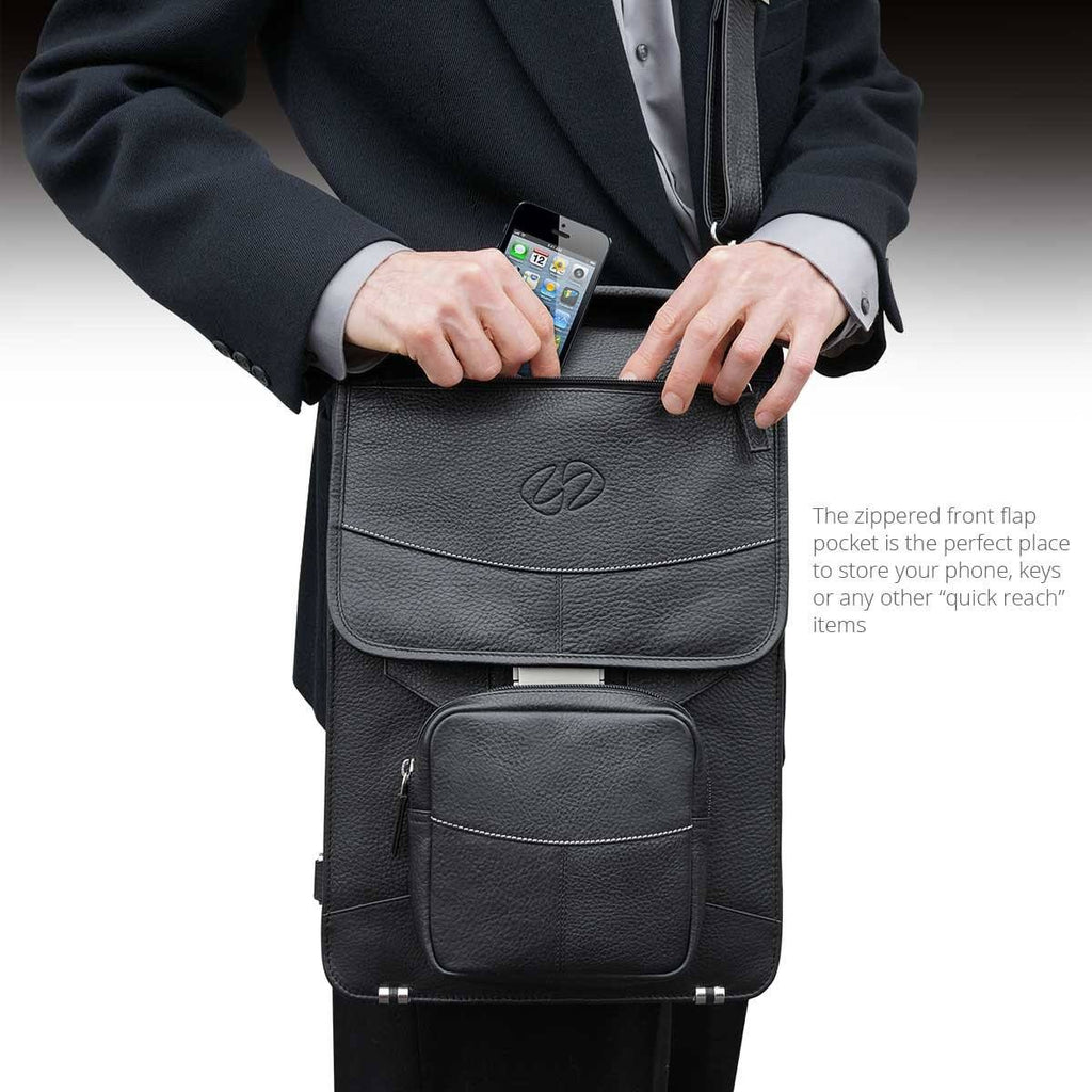 The Easy to Reach Flap Pocket in the MacCase Premium Leather Briefcase shown in Black