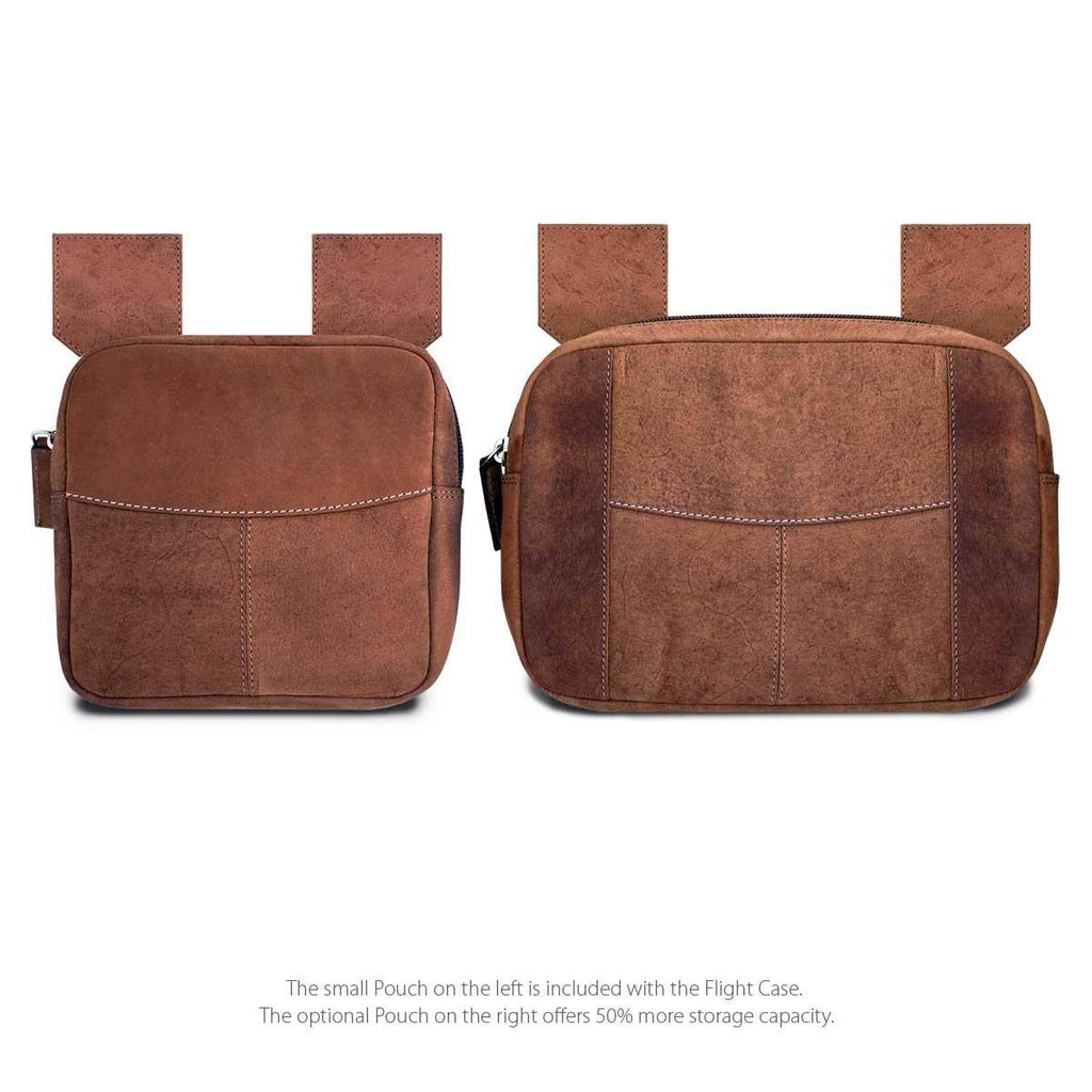 The Two Front Storage Pouches of the MacCase Leather Briefcase ase shown in Vintage