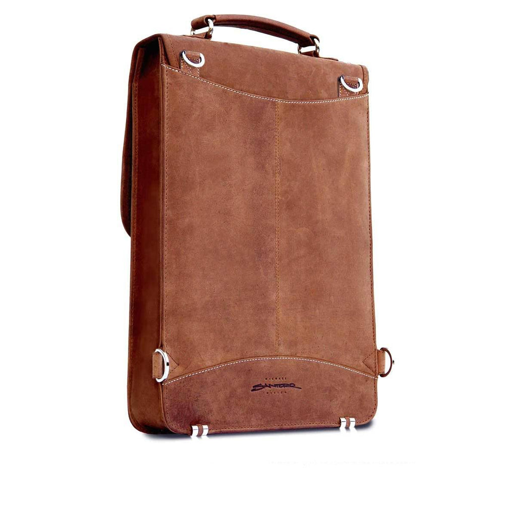 Rear View of the MacCase Leather Briefcase shown in Vintage