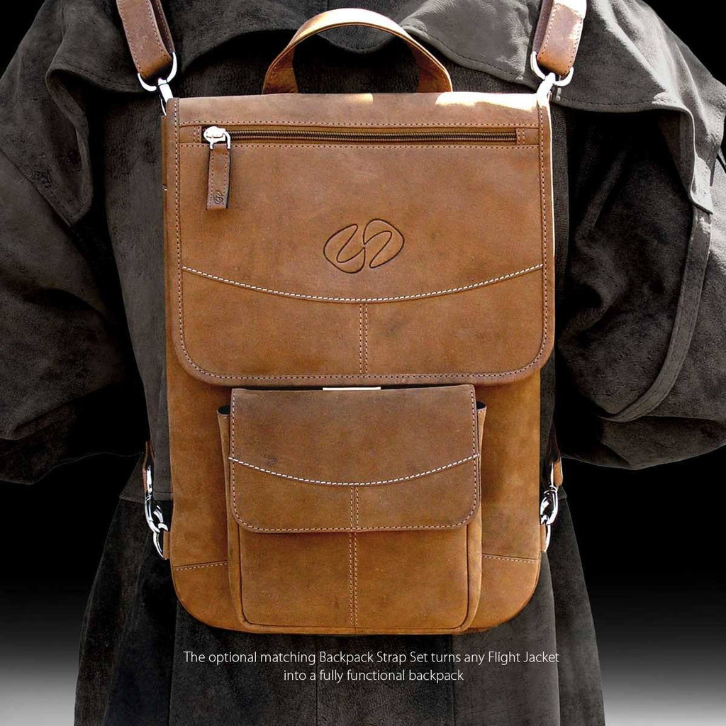 MacCase Premium Leather Flight Jacket Worn as a Backpack shown in Vintage