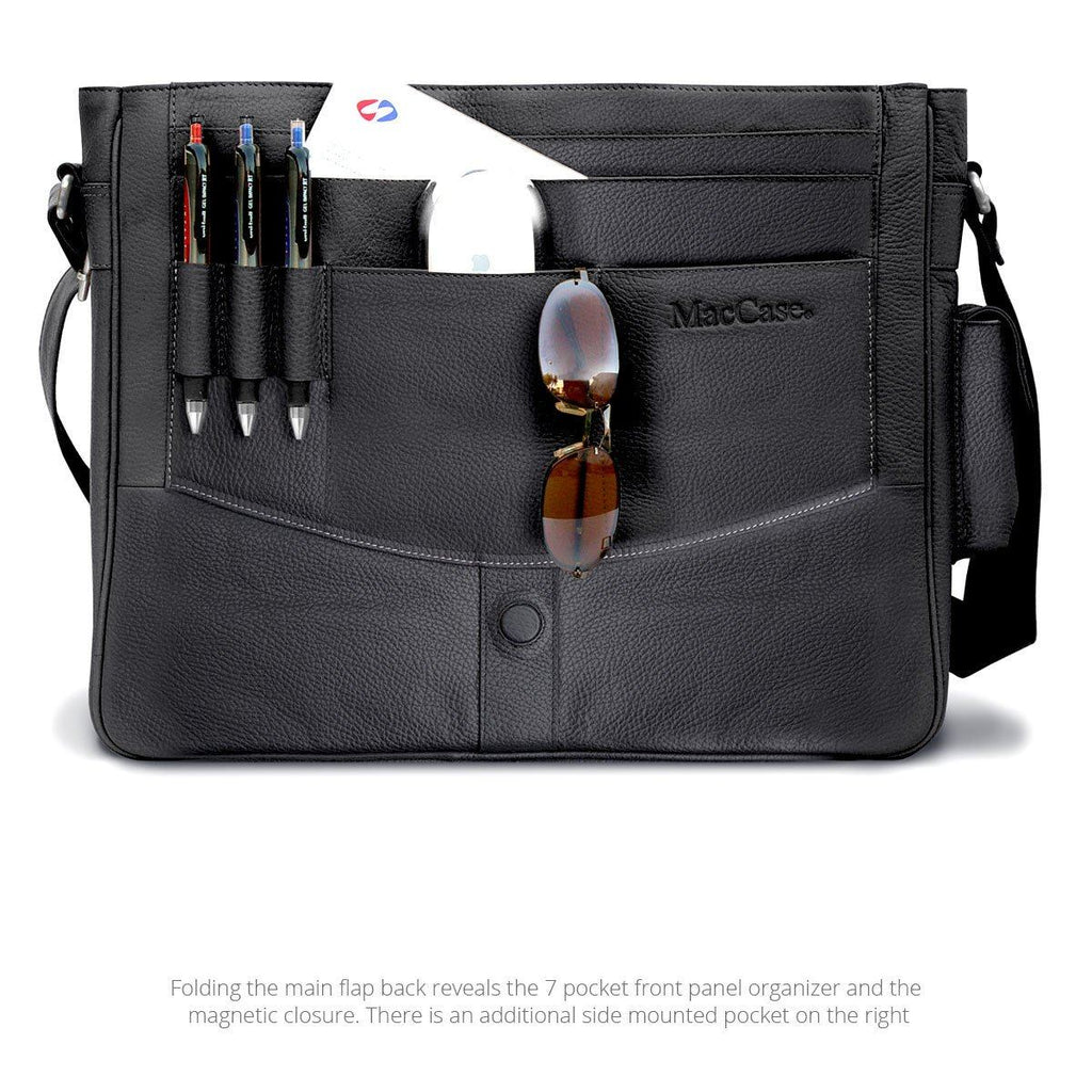 Open view of the MacCase Premium Leather Shoulder Bag