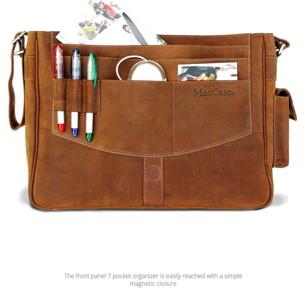 Open view of the leather messenger bag