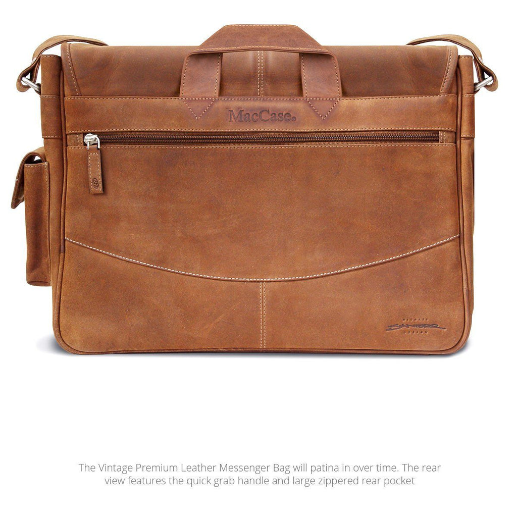 Rear view of the MacCase leather messenger bag