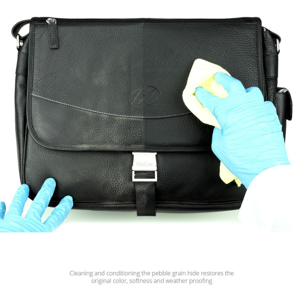 MacCase Premium Leather Restoration Services cleans and conditions a black pebble grain shoulder bag