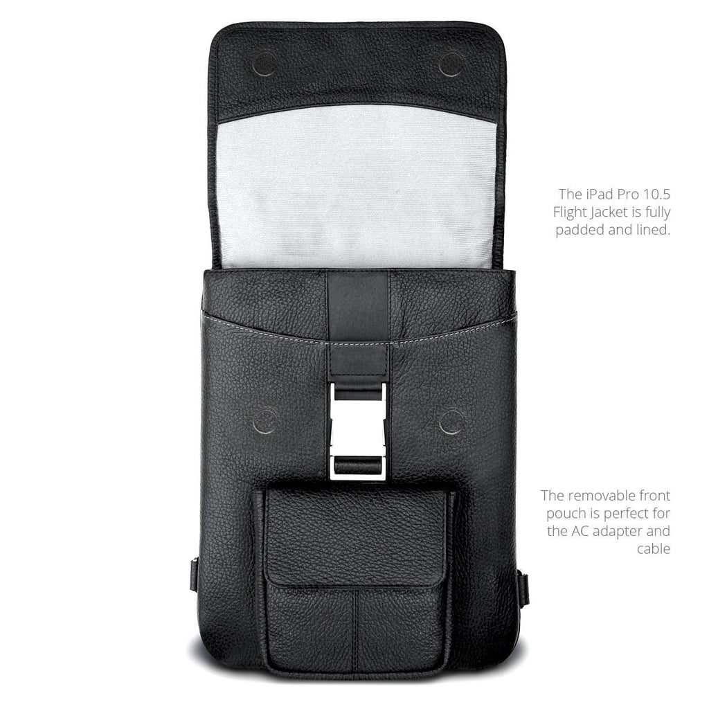Front, Open View of the MacCase Premium Leather 10.5 iPad Pro cases - Flight Jacket