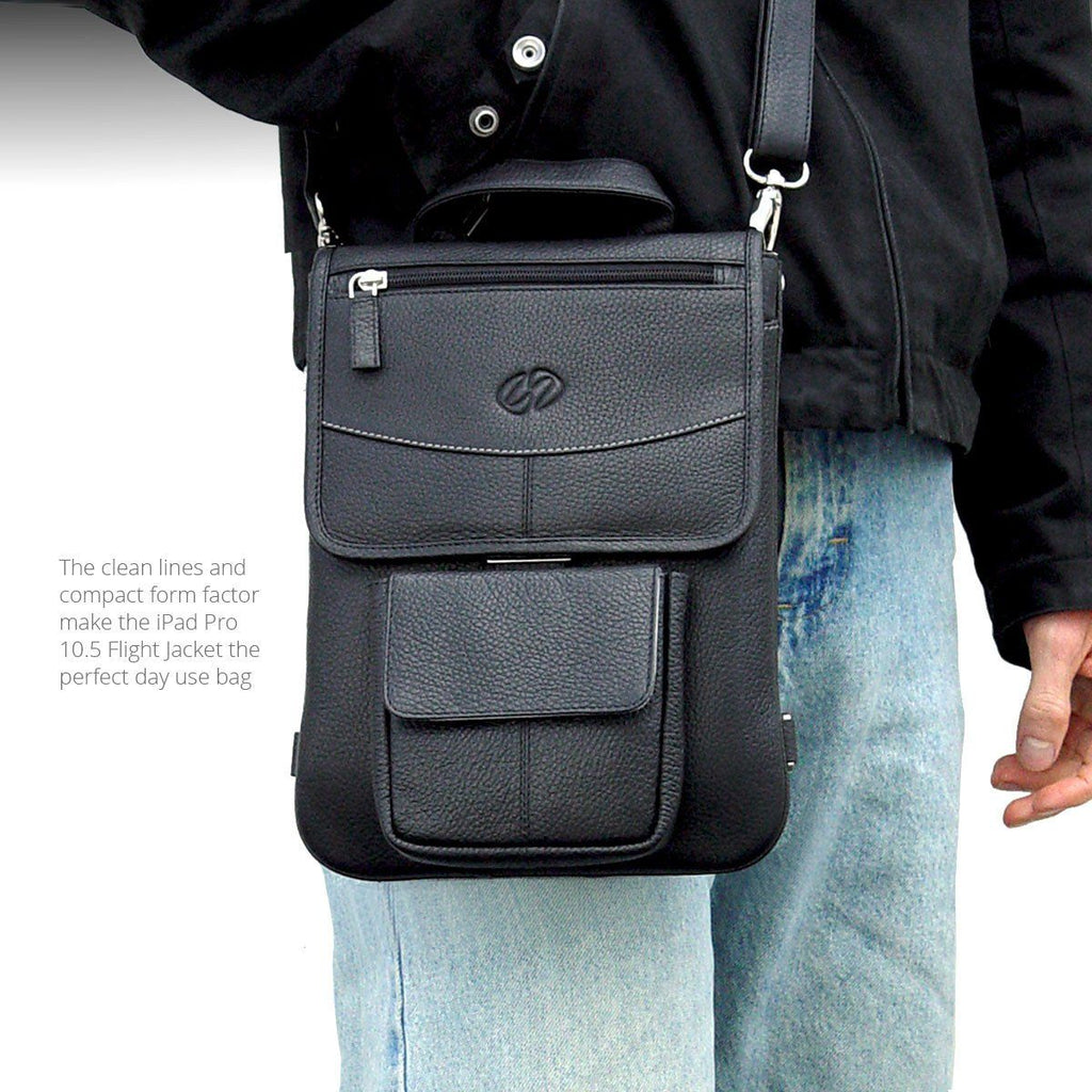 The compact style of the  Leather iPad Pro 10.5 case - Flight Jacket shown with the iPad Pro 10.5